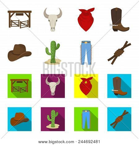 Hat, Cactus, Jeans, Knot On The Lasso. Rodeo Set Collection Icons In Cartoon, Flat Style Vector Symb
