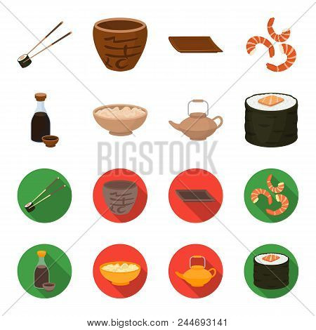 Soy Sauce, Noodles, Kettle.rolls.sushi Set Collection Icons In Cartoon, Flat Style Vector Symbol Sto