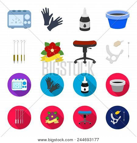 Chair On Rollers, Needles For Tattoo And Other Equipment. Tattoo Set Collection Icons In Cartoon, Fl