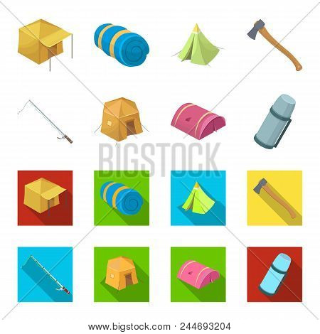 Spinning For Fishing, Tent, Thermos.tent Set Collection Icons In Cartoon, Flat Style Vector Symbol S