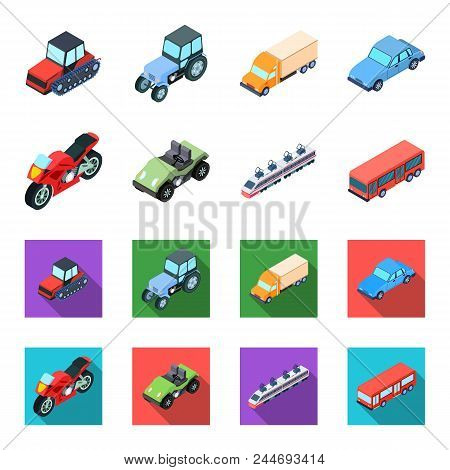 Motorcycle, Golf Cart, Train, Bus. Transport Set Collection Icons In Cartoon, Flat Style Vector Symb