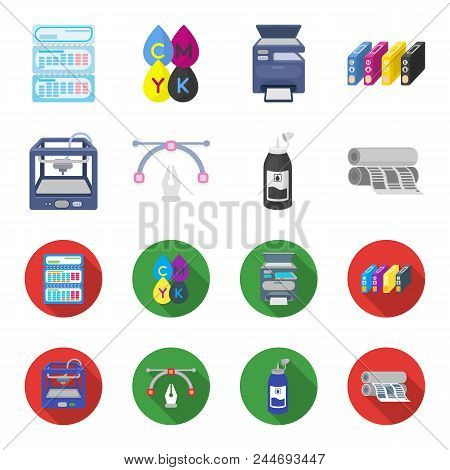 3d Printer, Newspaper Printer, Ink, Pen. Typography Set Collection Icons In Cartoon, Flat Style Vect