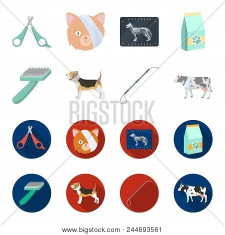 Dog, Cow, Cattle, Pet .vet Clinic Set Collection Icons In Cartoon, Flat Style Vector Symbol Stock Il