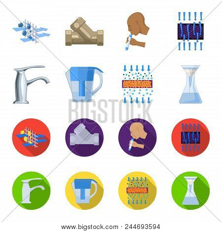Man, Bald, Head, Hand .water Filtration System Set Collection Icons In Cartoon, Flat Style Vector Sy