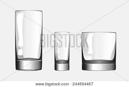 Glass For Shots, Glass For Whiskey And Glass Cup For Drinks. Set Of Glass Cups. Vector Illustration