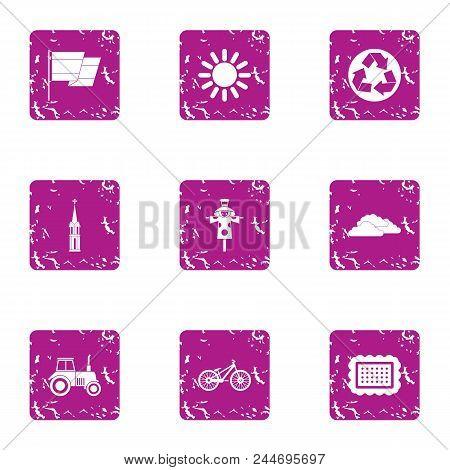 Safe Plastic Icons Set. Grunge Set Of 9 Safe Plastic Vector Icons For Web Isolated On White Backgrou