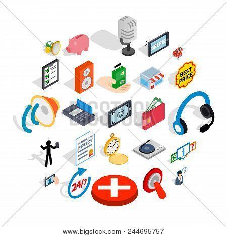 Global Communication Icons Set. Isometric Set Of 25 Global Communication Vector Icons For Web Isolat