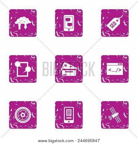 Dialog Icons Set. Grunge Set Of 9 Dialog Vector Icons For Web Isolated On White Background