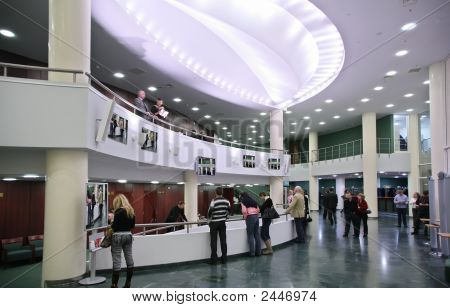Listeners In The Foyer Of The Concert Hall