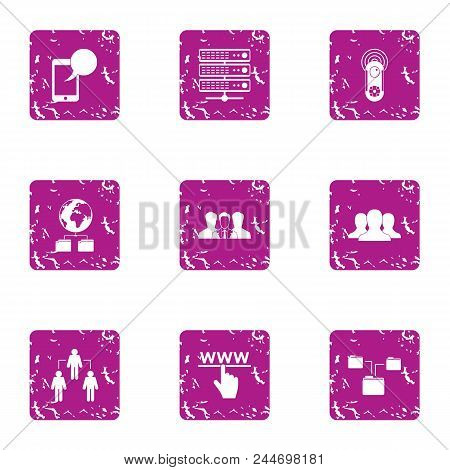 Interactive Guard Icons Set. Grunge Set Of 9 Interactive Guard Vector Icons For Web Isolated On Whit