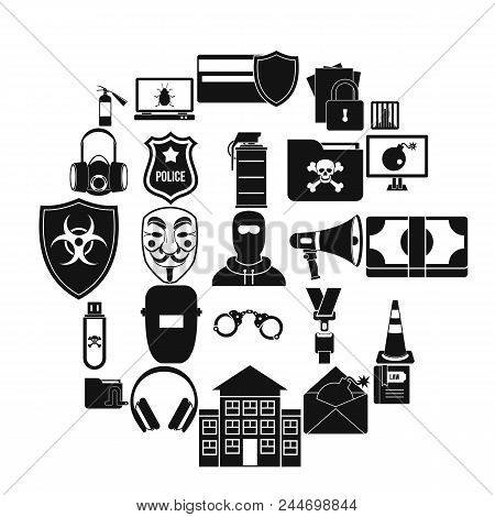 Prosecution Icons Set. Simple Set Of 25 Prosecution Vector Icons For Web Isolated On White Backgroun