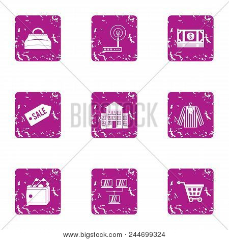 Wifi Shop Icons Set. Grunge Set Of 9 Wifi Shop Vector Icons For Web Isolated On White Background