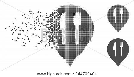 Grey Vector Cafe Marker Icon In Dispersed, Dotted Halftone And Undamaged Entire Variants. Disappeari