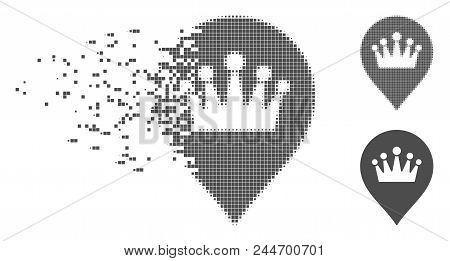 Gray Vector Crown Marker Icon In Fractured, Pixelated Halftone And Undamaged Entire Variants. Disapp