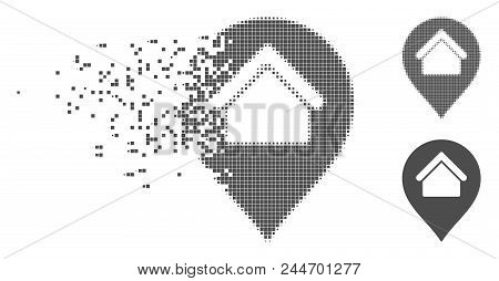 Gray Vector Home Marker Icon In Dispersed, Dotted Halftone And Undamaged Whole Versions. Disintegrat