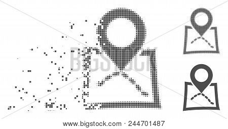 Grey Vector Map Marker Icon In Dispersed, Pixelated Halftone And Undamaged Solid Variants. Disappear