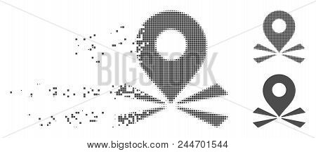 Grey Vector Marker Position Icon In Dissolved, Pixelated Halftone And Undamaged Entire Versions. Dis