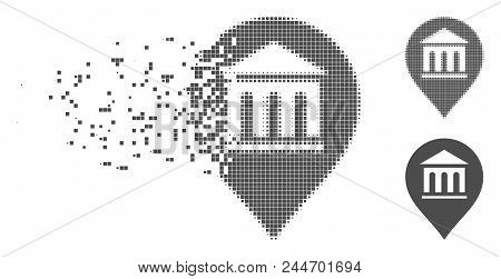 Gray Vector Museum Marker Icon In Dissolved, Dotted Halftone And Undamaged Solid Versions. Disappear