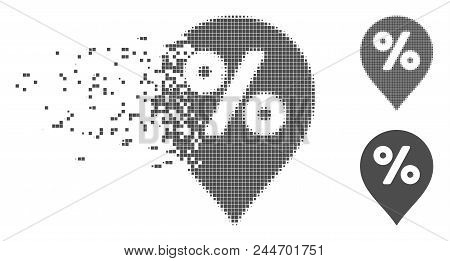 Grey Vector Percent Map Marker Icon In Fractured, Dotted Halftone And Undamaged Whole Versions. Disa