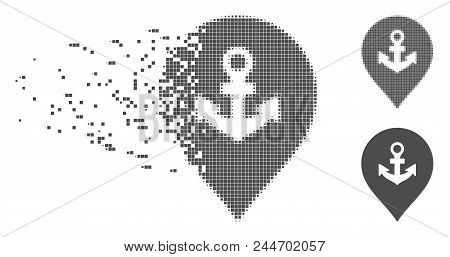 Gray Vector Sea Port Marker Icon In Dispersed, Dotted Halftone And Undamaged Whole Versions. Disinte