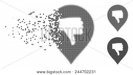 Gray Vector Thumb Down Marker Icon In Dispersed, Dotted Halftone And Undamaged Whole Variants. Disap