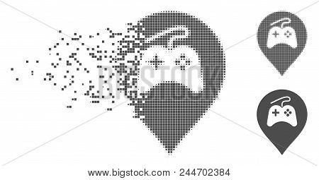 Gray Vector Video Games Marker Icon In Fractured, Pixelated Halftone And Undamaged Solid Versions. D