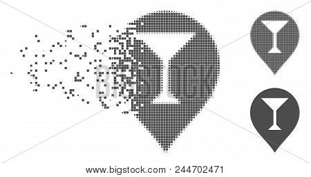 Grey Vector Wine Bar Marker Icon In Dissolved, Dotted Halftone And Undamaged Whole Variants. Disappe
