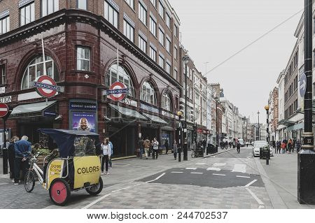 London, Uk - April 2018: Entrance To Covent Garden Station, A Central London Tube Station In The Hea
