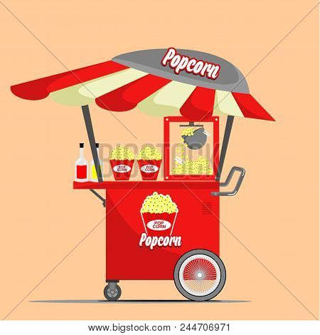 Popcorn, Fast Street Food Cart, Shopping Cart