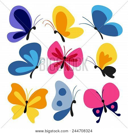 Hand Drawn Butterflies Set, Butterfly Character, Flying