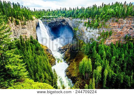 Helmcken Falls With The Smallet Lee Falls At The Bottom In Wells Gray Provincial Park British Columb
