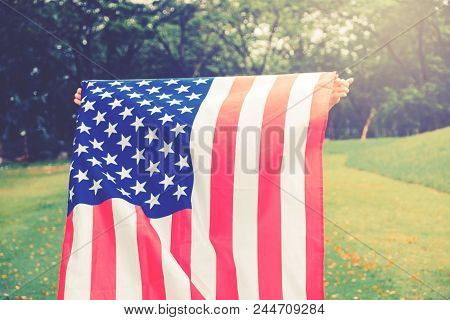 Happy Kid Little Child Running With American Flag Usa Celebrate 4Th Of July