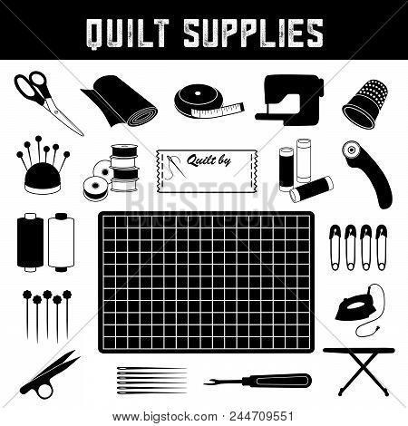 Quilt Supplies: Scissors, Fabric, Tape Measure, Sewing Machine, Thimble, Pins, Pincushion, Bobbins,