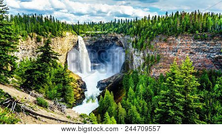 Helmcken Falls With Smaller Lee Falls At The Bottom In Wells Gray Provincial Park British Columbia,