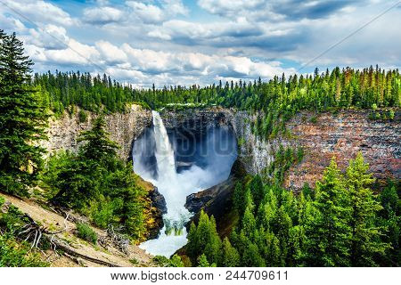 Helmcken Falls With Lee Falls At The Bottom In Wells Gray Provincial Park British Columbia, Canada W
