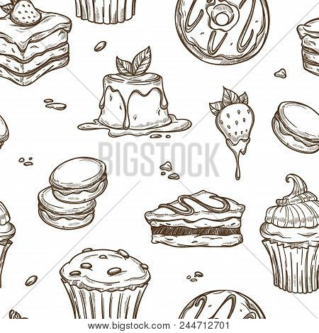 Cakes And Desserts Sketch Pattern Background. Vector Seamless Patisserie Chocolate Croissant, Ice Cr