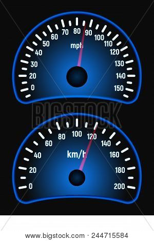 Car Speedometer Kit. Mile And Kilometer Per Hour. Speed Measurement. Vector Illustration. Blue Glow.