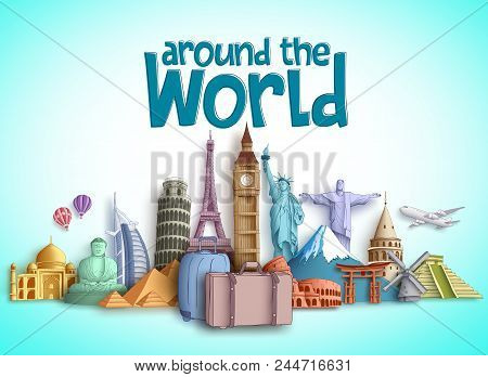 Travel Around The World Vector Banner Design With Travel Destinations And Famous Tourist Landmarks O