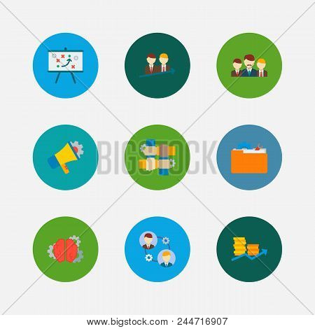Partnership Icons Set. Teamwork And Partnership Icons With Finance, Collaboration And Technical Stra