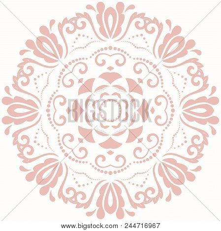 Oriental Round Pink Pattern With Arabesques And Floral Elements. Traditional Classic Ornament. Vinta