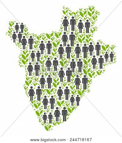 People Population And Flora Burundi Map. Vector Pattern Of Burundi Map Designed Of Random Family And