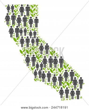People Population And Grass California Map. Vector Pattern Of California Map Combined Of Scattered P