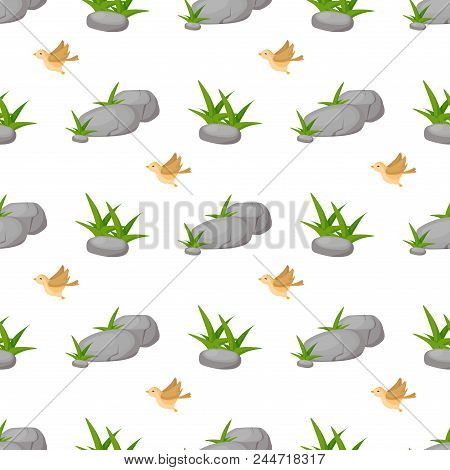 Stone Rock Seamless Pattern Nature Architecture Vector Illustration. Natural Cobblestone With Green