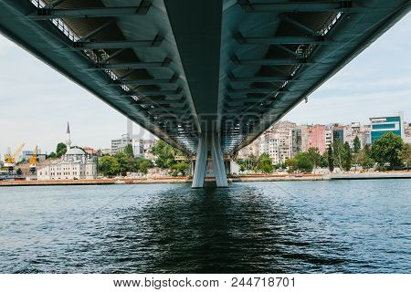 Symmetrically. The Lower Part Of The Bridge In Istanbul Connects The Asian Part With The European Pa