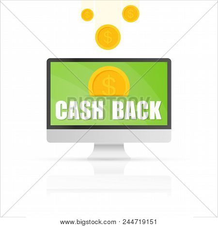 Cash Back Concept. Shopping And Getting Money Back. E-commerce And Economy. Vector Stock Illustratio