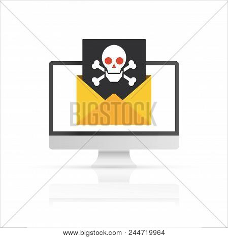 Pc And Envelope With Black Document And Skull Icon. Virus, Malware, Email Fraud, E-mail Spam. Vector