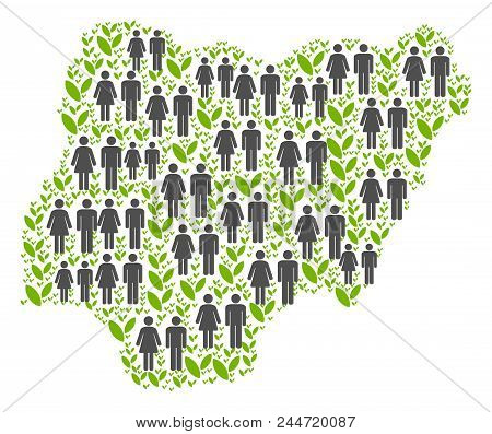 People Population And Eco Nigeria Map. Vector Abstraction Of Nigeria Map Made Of Random People And P