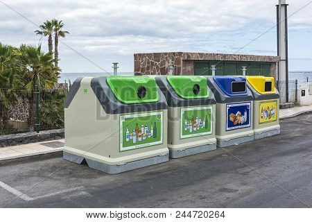 Spain, Tenerife Island, La Coleta - May 18, 2018: Containers For Separate Collection Of Secondary Ra