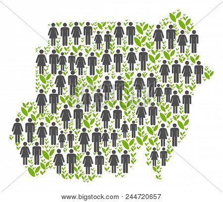 People Population And Grass Sudan Map. Vector Abstraction Of Sudan Map Made Of Scattered Crowd And F