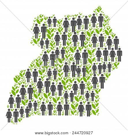 People Population And Eco Uganda Map. Vector Collage Of Uganda Map Created Of Random People And Agri